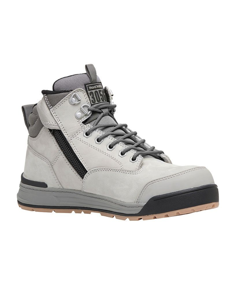 3056 Hard Yakka lace zip boot - Grey - Y60202 Workwear Hard Yakka