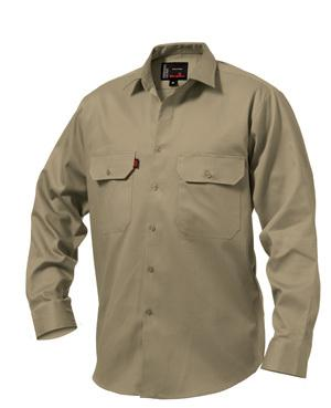 King Gee Long Sleeved Open Front Men's Drill Shirt - Khaki Workwear King Gee