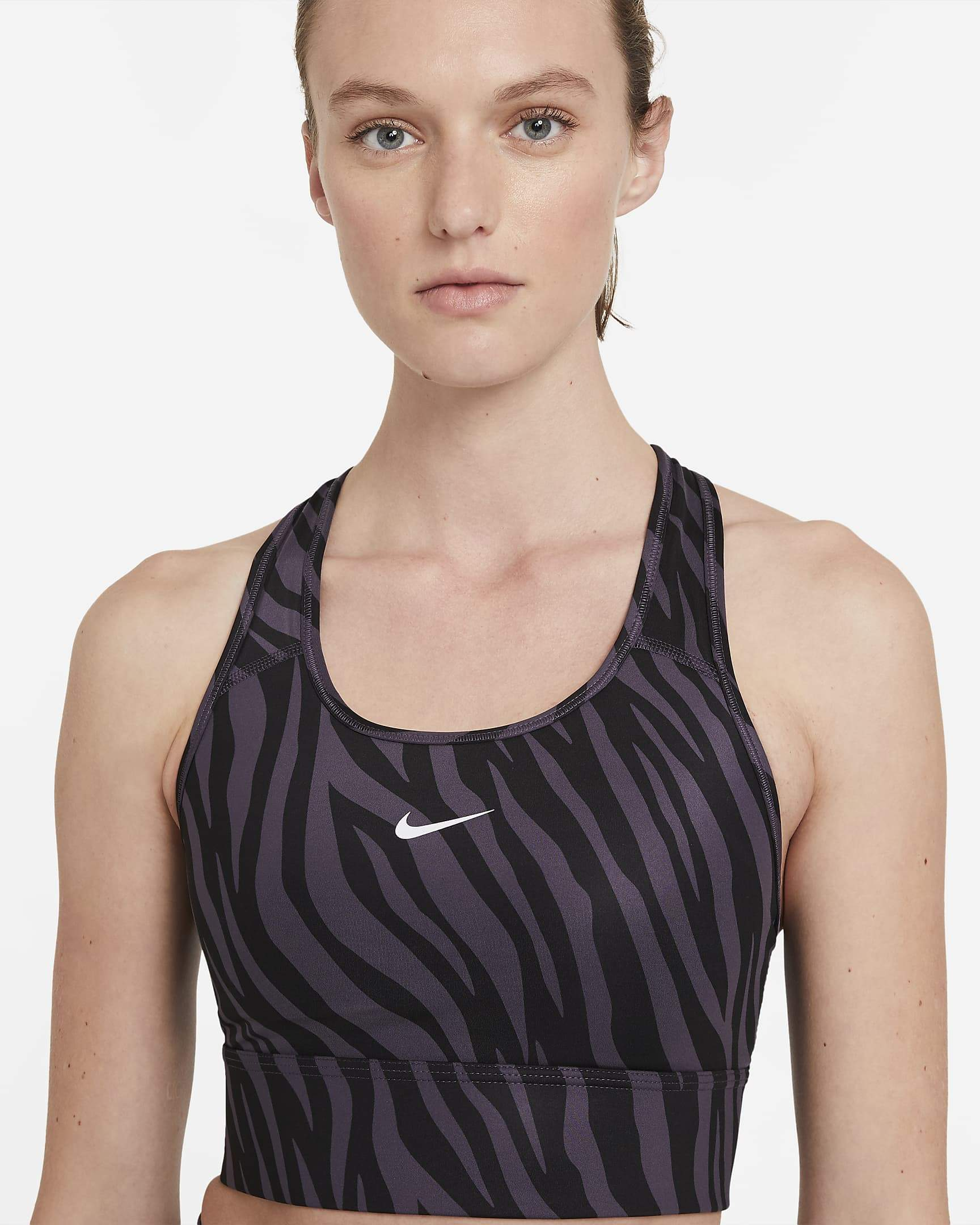 Nike Womens Dri-Fit Swoosh Icon Clash Sports Bra - Dark Raisin/White SP-ApparelBras-Womens Nike