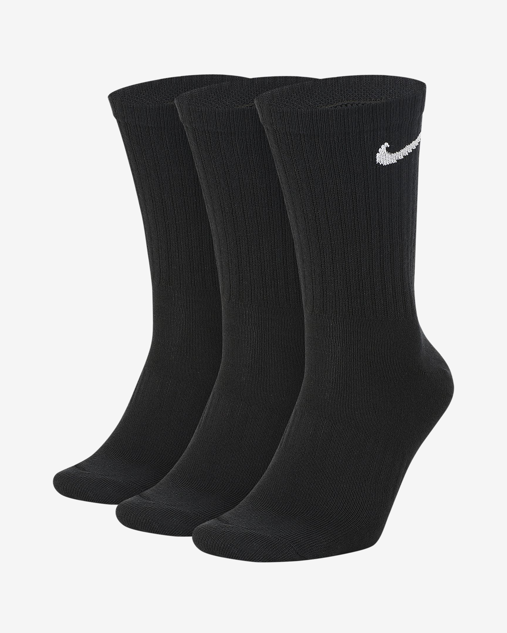 Nike Everyday Lightweight Crew Sock - Black/White SP-ApparelSocks-Unisex Nike