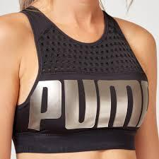 Puma Women's Mid Impact Women's Bra Top - Black Metal Apparel Puma  (2122607820859)