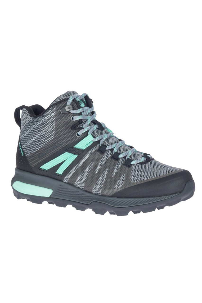 Merrell Women's Zion FST Mid WP - Black/Grey Aqua SP-Footwear-Womens Merrell