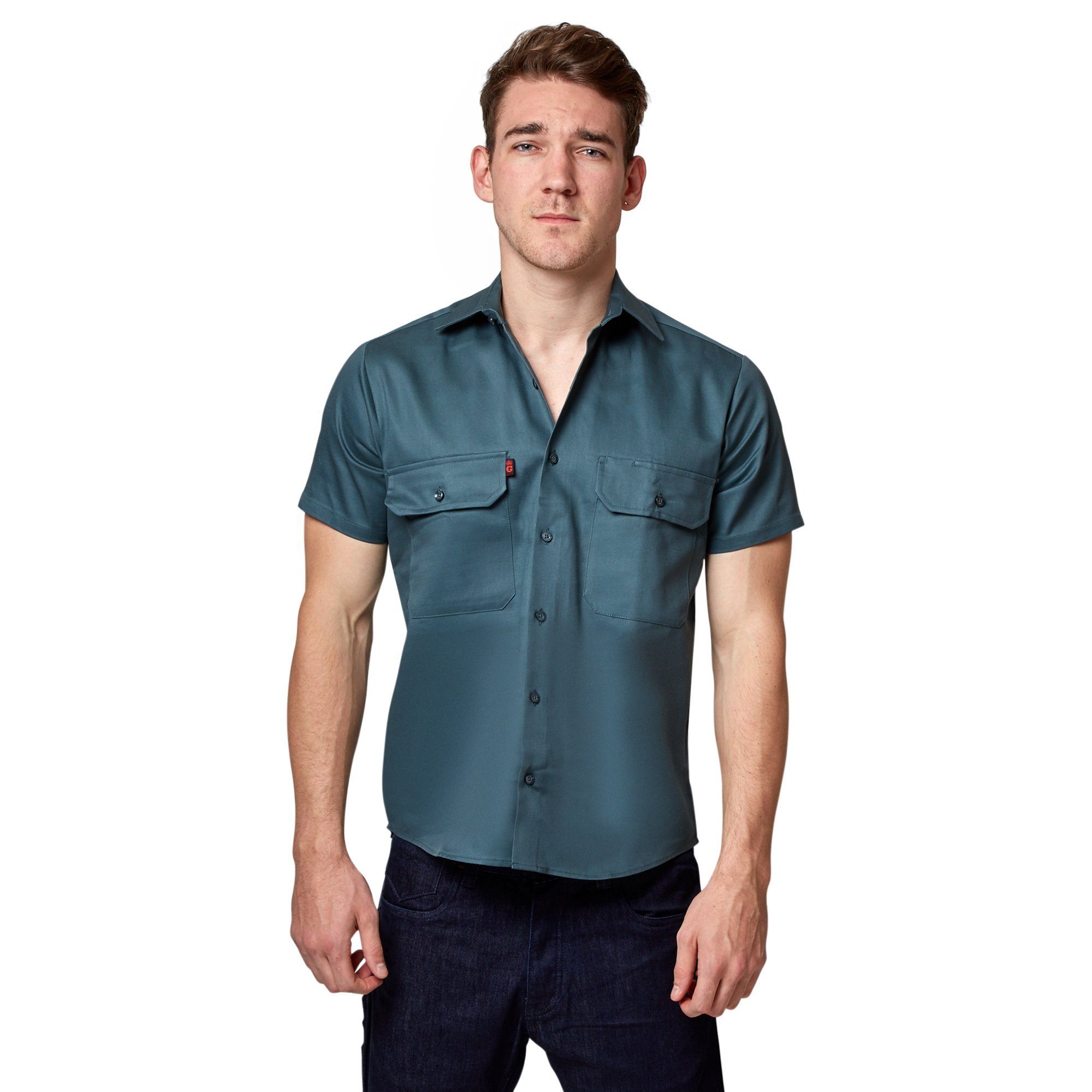 King Gee Open Front Drill Shirt - Green Workwear King Gee