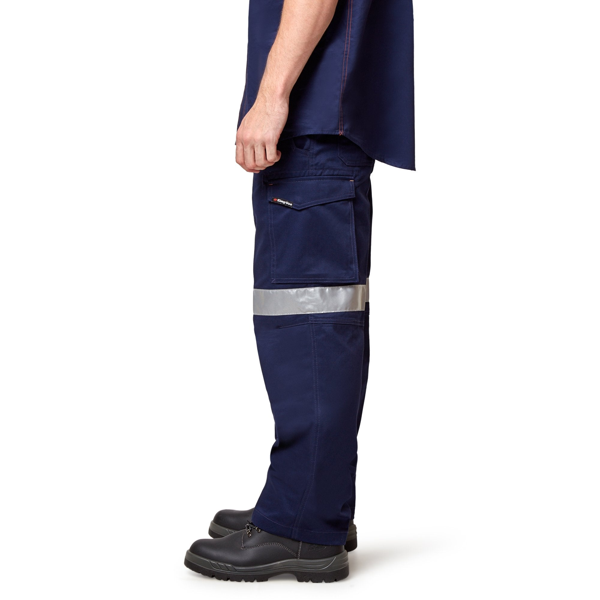 King Gee Reflective Workcool Pants - Navy Workwear King Gee