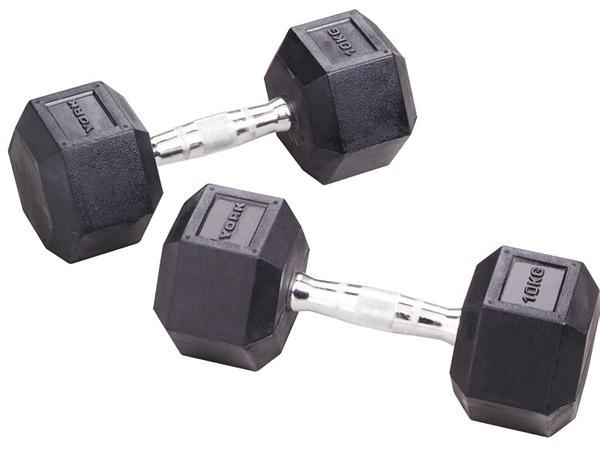 York 37.5kg Rubber Hex Dumbell (sold individually) SP-Exercise Equipment York Fitness