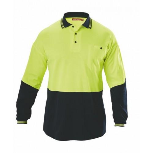 Hard Yakka Hi Vis Long Sleeve Polo 2 Tone - Fluro Yellow/Navy Workwear Hard Yakka