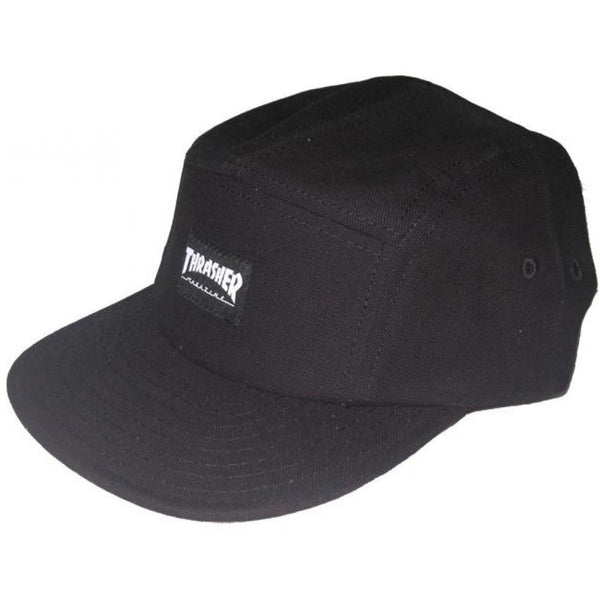 THRASHER 5 PANEL CAP - BLACK