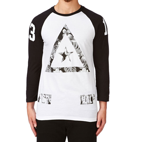 ASPHALT YACHT CLUB DELTA HEAT LONG SLEEVE RAGLAN T-SHIRT - WHITE