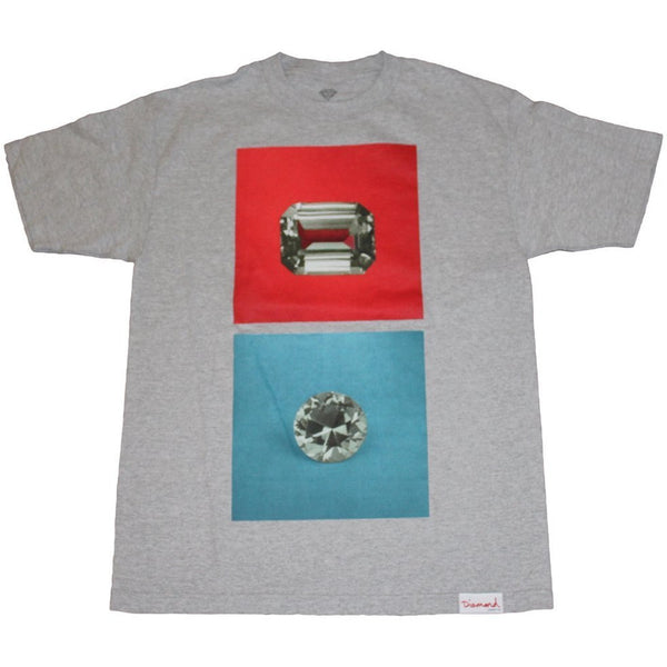 DIAMOND SUPPLY CO EMERALD SQUARE T-SHIRT - HEATHER GREY
