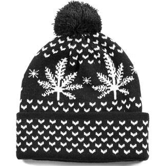 REASON LEAF PATTERN BEANIE - BLACK