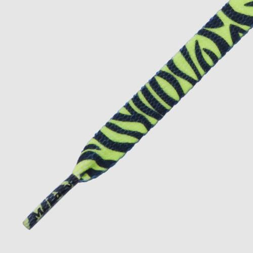 MR.LACY PRINTIES SHOELACES - NEON LIME YELLOW ZEBRA