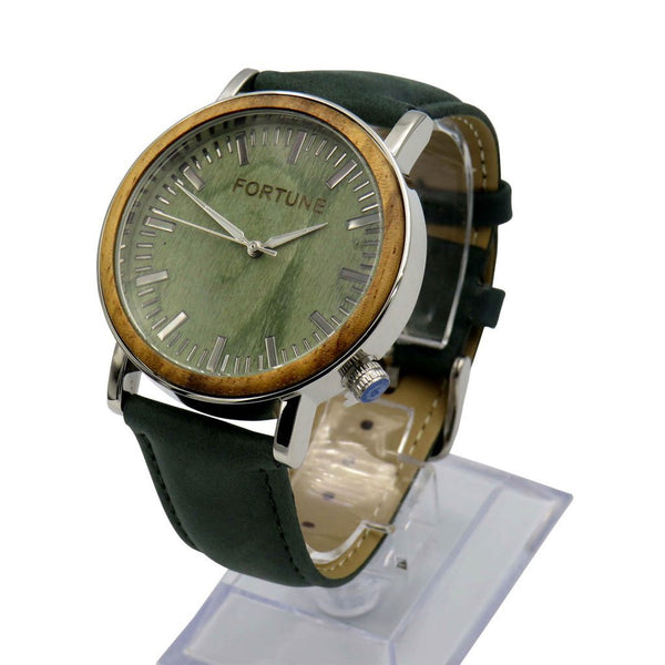 FORTUNE FORTY SIX THE HORIZON GLOSSY SILVER ZEBRA WOOD FINISH QUARTZ WATCH