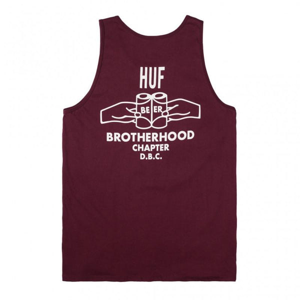 HUF BROTHERHOOD VEST TOP - BURGUNDY
