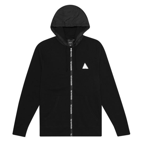 HUF CONCEAL ZIP UP HOODIE - BLACK