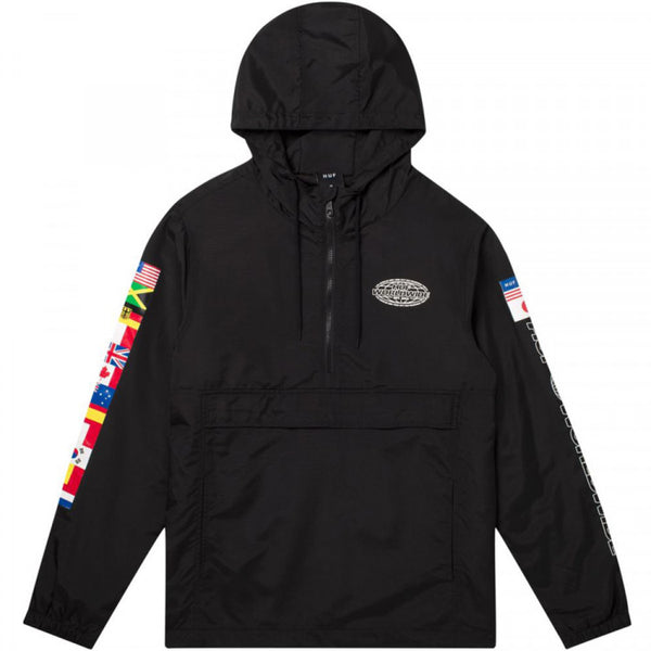 HUF WORLD TOUR ANORAK JACKET - BLACK