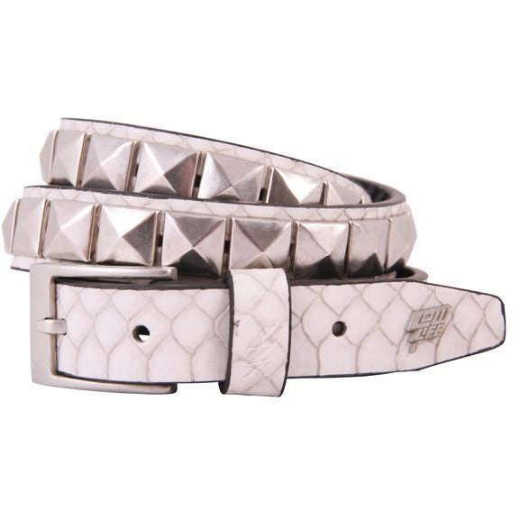 LOWLIFE SINGLE STUD BELT - WHITE SNAKESKIN