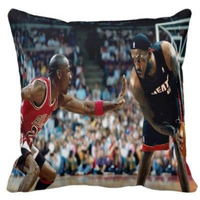 D3 MICHAEL JORDAN VS LEBRON JAMES THROW PILLOW