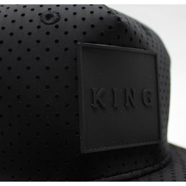 KING APPAREL THE PERF SNAPBACK HAT - BLACK