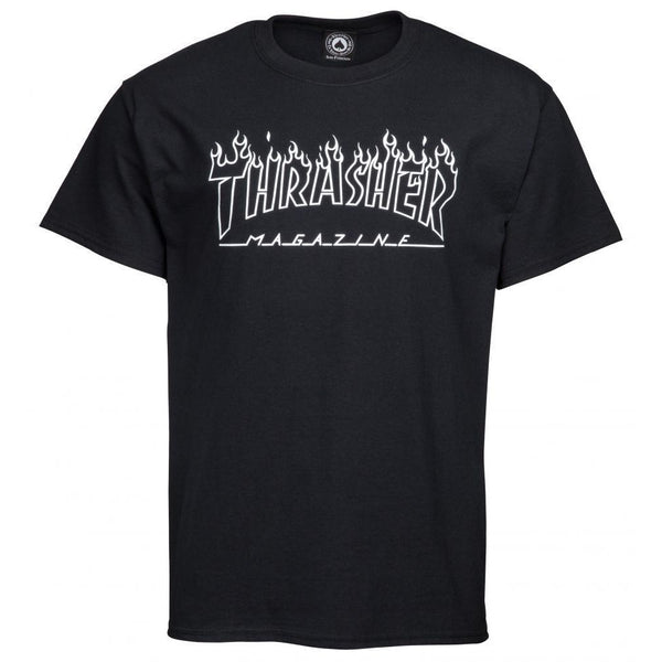 THRASHER SKATE MAG FLAME OUTLINE T-SHIRT - BLACK