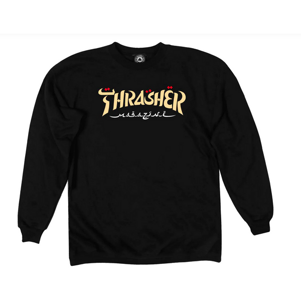 THRASHER CALLIGRAPHY CREWNECK SWEATSHIRT - BLACK