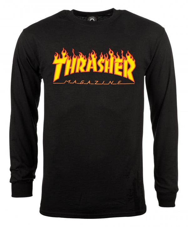 THRASHER SKATE MAG FLAME LOGO LONG SLEEVE T-SHIRT - BLACK