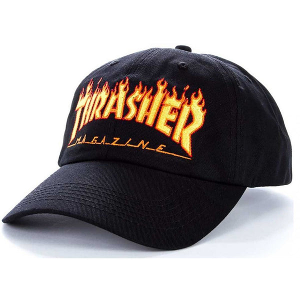 THRASHER FLAME LOGO OLD TIMER CAP - BLACK