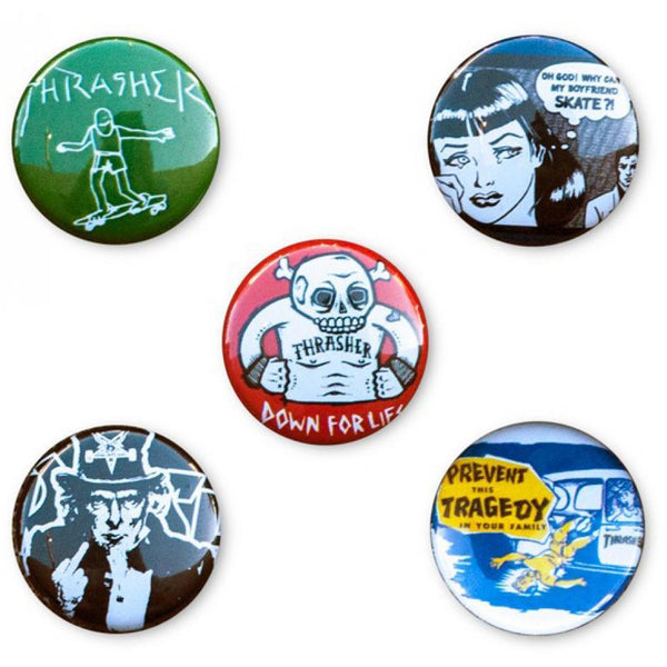 THRASHER USUAL SUSPECTS BUTTON PINS