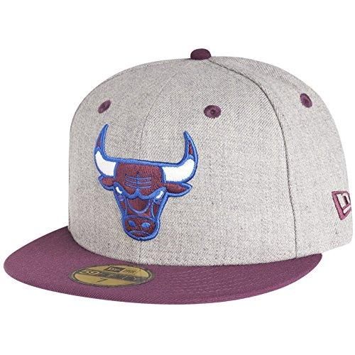 NEW ERA CHICAGO BULLS FITTED CAP - HEATHER GREY/PURPLE