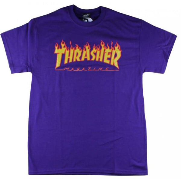 THRASHER SKATE MAG FLAME LOGO T-SHIRT - PURPLE