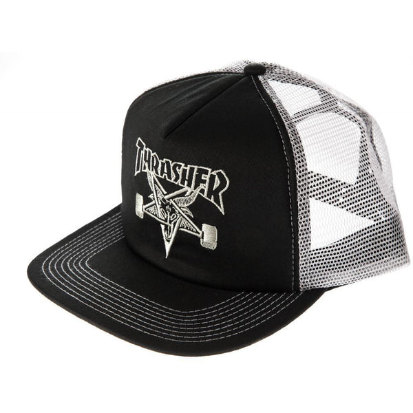 THRASHER SKATEGOAT EMBROIDED MESH CAP - BLACK