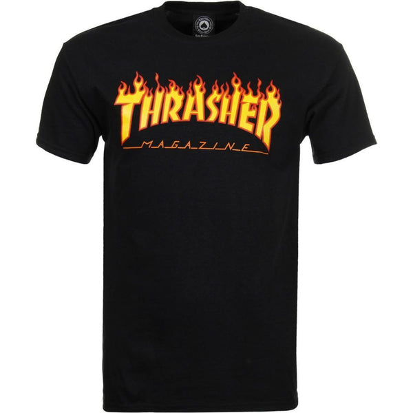 THRASHER SKATE MAG FLAME LOGO T-SHIRT - BLACK