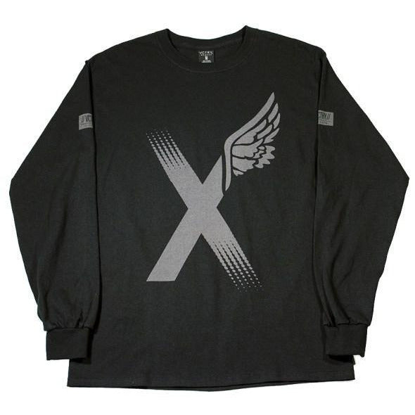 10 DEEP FADE AWAY XWING LONG SLEEVE T-SHIRT - BLACK