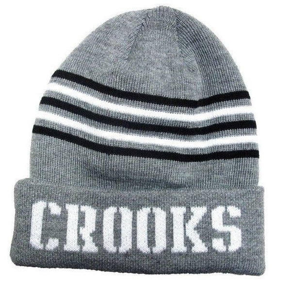CROOKS & CASTLES CORE STRIPED BEANIE - GREY