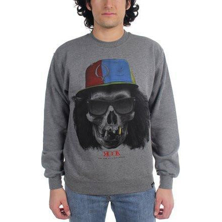 ROOK - CROSSED SKULL CREWNECK SWEATSHIRT - HEATHER GREY