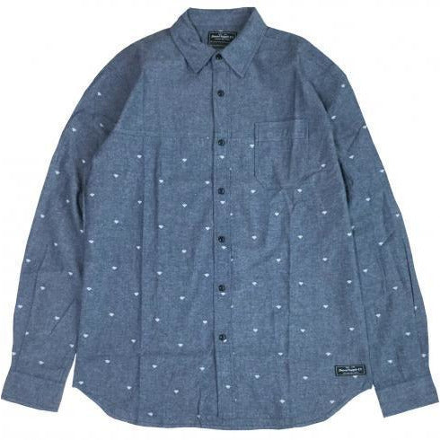 DIAMOND SUPPLY CO WORK LONG SLEEVE SHIRT - BLUE