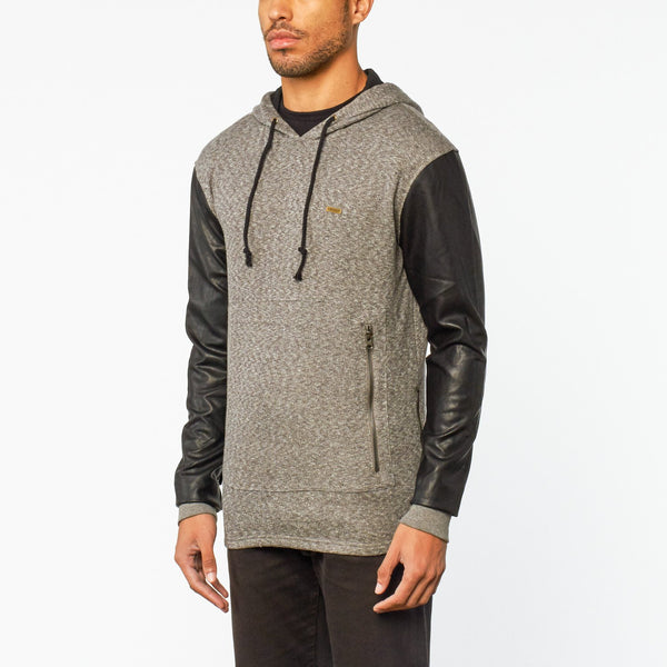 REASON ELONG PANEL LEATHER HOODIE - GREY/BLACK