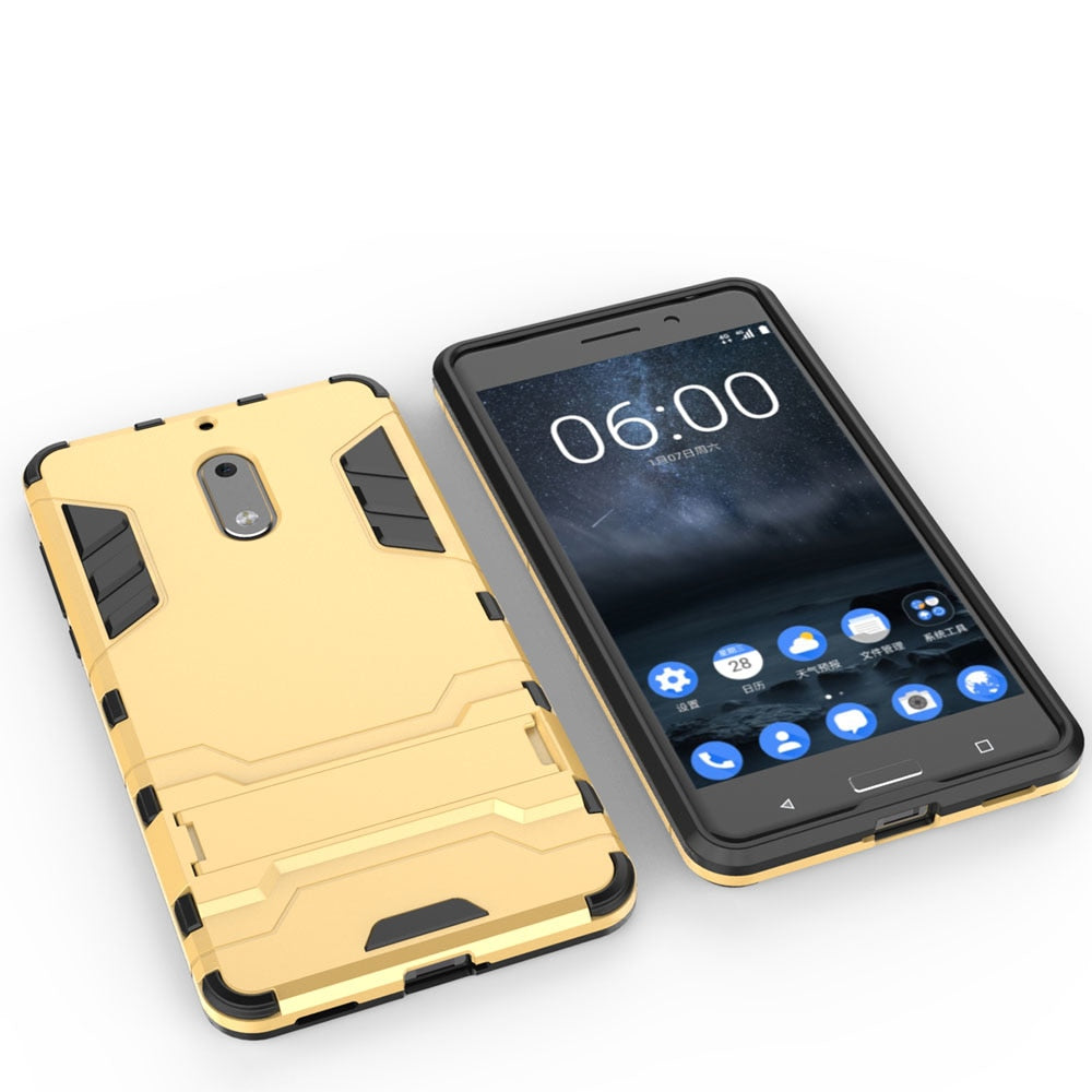 2 In 1 Hybrid Armor Case With Kickstand Phone Holder Shockproof Impact Resistant Hard Shell Back Cover For Nokia 6 Nokia6 2017
