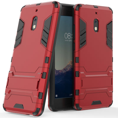 2 In 1 Soft TPU & Hard PC Back Hybrid Armor Case For Nokia 2.1 With Kickstand Shockproof Protective Cover For Nokia 2.1 (2018)