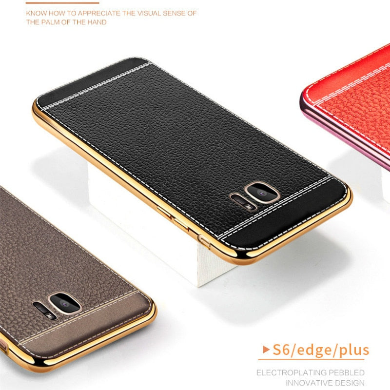 53445c021 2018 New Flogy 3c Store TPU Soft Plating Edge Leather Back Cover For S