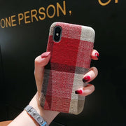 2018 New Heyytle Cloth Grid Phone Case For Apple IPhone X 8 7 6S 6 Plus Lattice Cute Fashion Soft Back Cover Cases For IPhone 10
