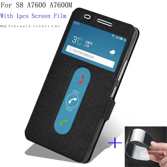 promo code 4e746 aa9d4 2pcs Flip Cover For Lenovo S8 A7600 Case View Window Shell A7600m PU L