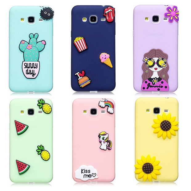 3D Cactus Pineapple Popcorn Fashion Girl TPU Case For Samsung J3 2016 J5 2016 J7 2016 Case Soft Silicone Cover Fundas Coque Capa