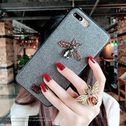 3D Cute Luxury Brand Diamond Bee Leather PU Bling Glitter Hard Case For IPhone 6 6S 7 8 Plus X XR XS Max Coque Back Cover Fundas
