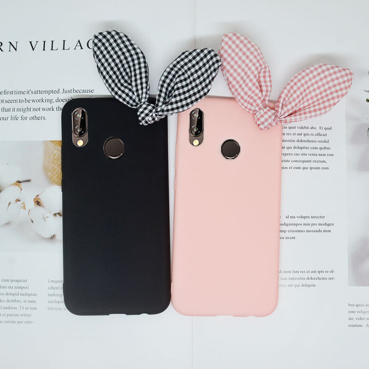 3D Cute Rabbit Bow Funda For Huawei Mate 9 10 20 Lite P Smart Y3 Y5 Y6 Pro 2017 Y7 Prime Y9 2018 P20 P10 P9 Lite Cover Soft Case