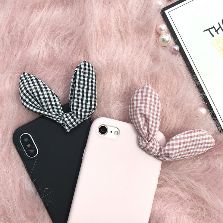 3D Korea Rabbit Bow Pink Cute Soft Case For Oneplus 5/5t/6 Silicone Funda For IPhone 5/5s/se/6/6s/7/8 Plus/X Bowknot Lady Cover