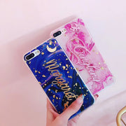 3D Letter Phone Case For IPhone X 8 7 6 6s Plus Retro Art Tinfoil Marble Color Soft TPU Back Cover Cases For IPhone 8 Coque Capa