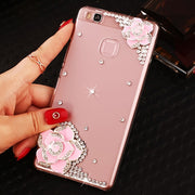 3D Pink Black White Diamond Flower Clear Hard Plastic Mobile Phone Cover Smile Case For Huawei P9 Lite / Huawei G9 Lite Cases