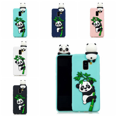 3D Relief Panda Silicone Case For Samsung Galaxy A8 A6 Plus 2018 Cover Shockproof Soft TPU Phone Case For Samsung A3 A5 2017