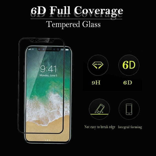 6D Full Coverage 9H Tempered Glass Front Case For Coque IPhone X 7 8 Plus Screen Protector Fim Case For IPhone X 6 6S Plus Funda