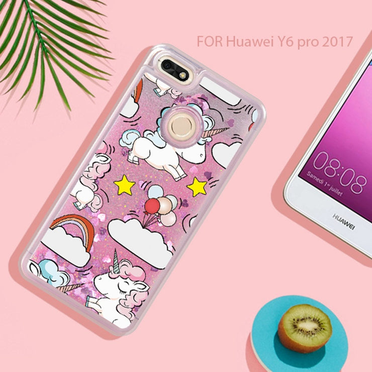 ASTUBIA Unicorn Cat Liquid Case For Huawei Y9 2018 Case Cover For Huawei Y5 Y3 2017 Cover For Huawei Y6 Pro 2017 Case Y6 Y5 Ii